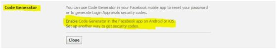 Code Generator Facebook