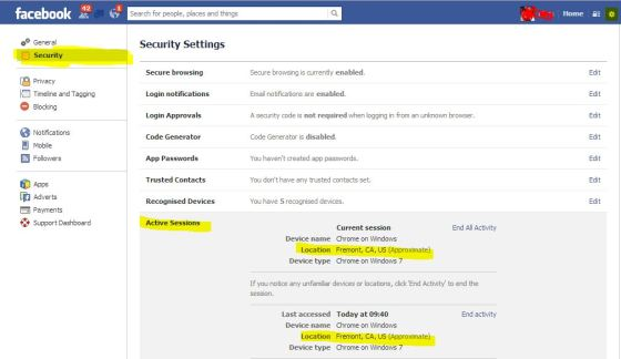 Facebook security setting